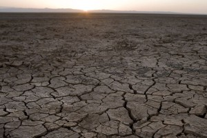 A view of the parched ground of a lake bed in the Chalbi Desert.