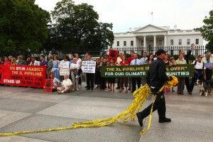 Protest against Keystone XL pipeline outside the White House
