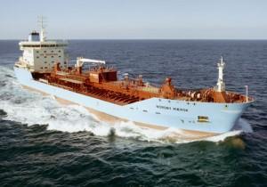 Shipping container through the sea