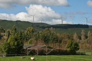 Te Apiti Wind Farm turbines on the hill