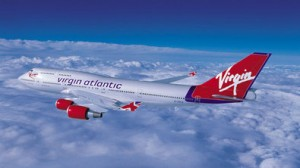 virgin atlantic plane in the sky