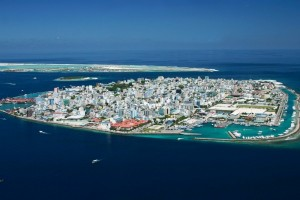 male maldives and its seawall, male is at risk to rising sea levels as a result of climate change