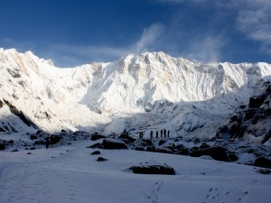 Glossy Annapurna on the early morning. The Himalayas are the water tower of Asia.