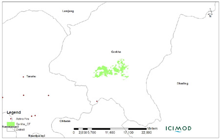Map showing Forest Fire in Community Forests of Dolakha (1 Feb 2012 to 9 April 2012)