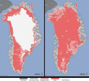 "NASA reports ""extreme melt"" of Greenland ice sheet underway but climate change link unconfirmed"