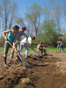 People digging and raking land in US