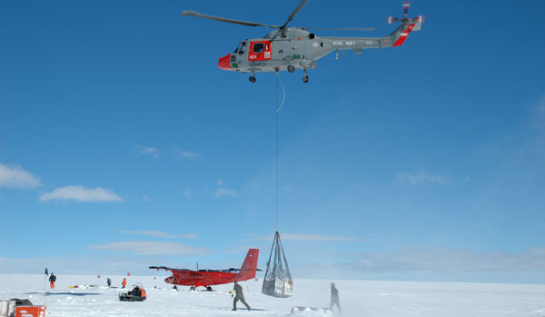 Researchers on the ice core on James Ross Island