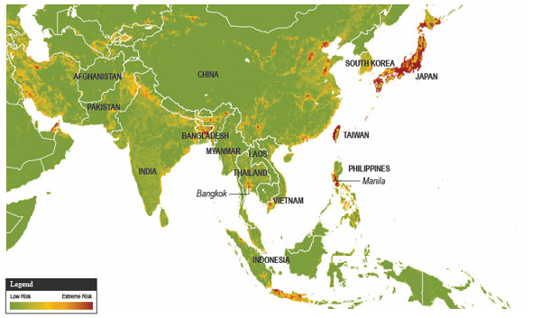 Map showing Asia Natural Hazards Risk - Economic Exposure 2012