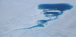 A supraglacial lake over the Greenland ice sheet in the Kangerlussuaq area at 1500 m elevation