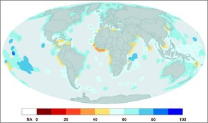 Global map showing index scores per country. All waters within 171 Exclusive Economic Zones (EEZs) were assessed