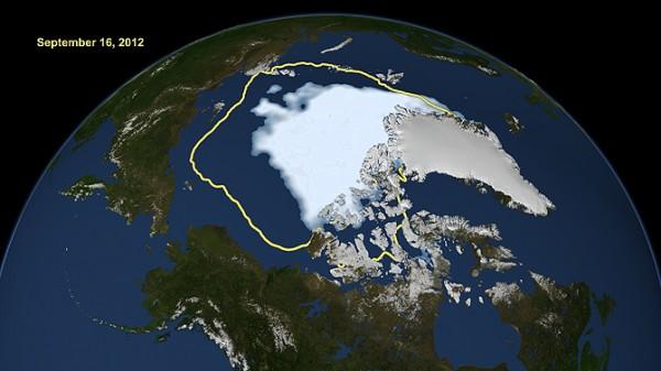 Arctic ice hits record low