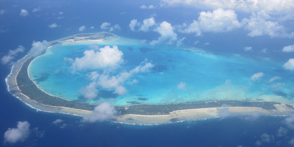 ariel view of on of the Kiribati islands