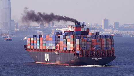 Funnel air pollution from a container ship