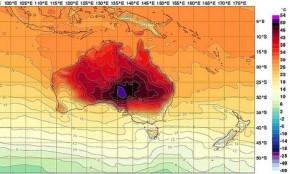 Australia's 'dome of heat' sends temperature charts into deep purple