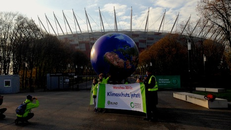 Protest outside Warsaw National Stadium, where the UN talks are making slow progress (Source: RTCC)