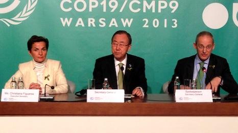 Ban Ki-moon speaks alongside Christiana Figueres in Warsaw (Source: RTCC)