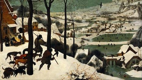1565 painting by Pieter Brueghel the Elder shows a frozen scene in Europe