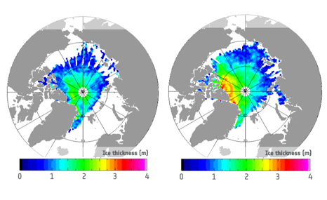 Arctic sea-ice thickness in October 2012 (L) and 2013 (R) as seen by ESA's CryoSat