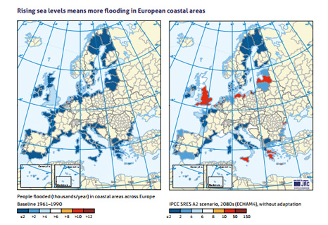 Rising sea levels means more flooding in European coastal areas (Pic: CAN/IPCC)