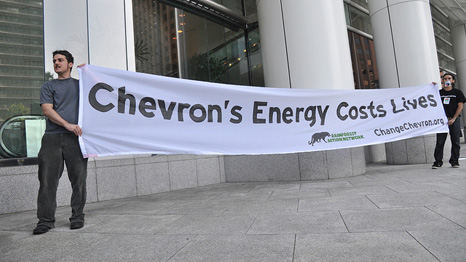 A 2010 protest outside Chevron meeting in Houston (Source: Flickr/Rainforest Action Network)