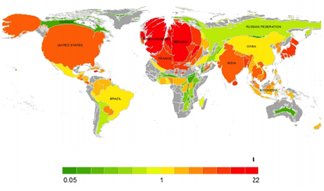 Country areas proportionate to climate contribution (Pic ERL)