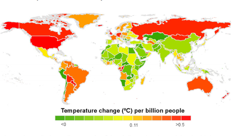 National per-capita contributions to climate warming. Red = hot (Pic: ERL)