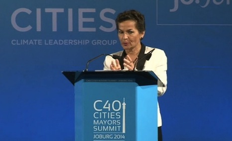 Christiana Figueres spoke of the importance of cities in Johannesburg today