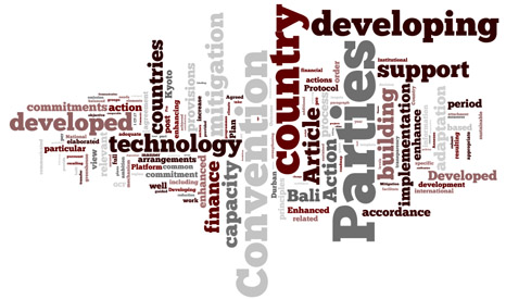 The key words and themes from China's submission compressed into a word cloud (Pic: Wordle)