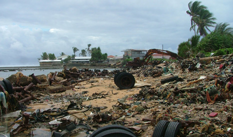 Pollution and debris left behind on Majuro's beaches after the latest set of 'king tides' (Pic: Benedict Yamamura)