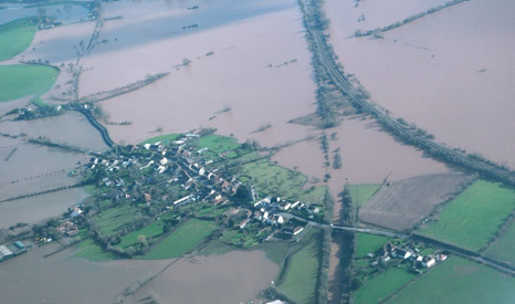 About 65 sq miles (41,600 acres) of the Somerset Levels were flooded for several weeks (Pic: Environment Agency)