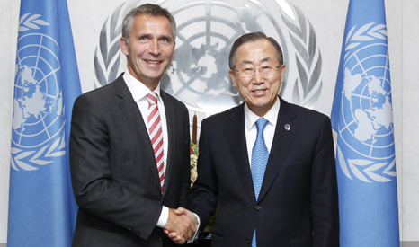Jens Stoltenberg and UN Secretary General Ban Ki-Moon (Pic: UN Photos)