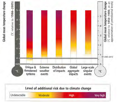 Levels of 'additional risk' as a result of climate change (Pic: IPCC WGII)
