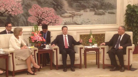 EU Commissioner Connie Hedegaard meets China's Vice Premier Zhang Gaoli and chief climate negotiator Xie Zhenhua during trip to China this week (Pic: Isaac Valero)