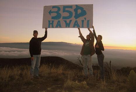 350 campaigners outside the Mauna Loa observatory (Source: 350.org)