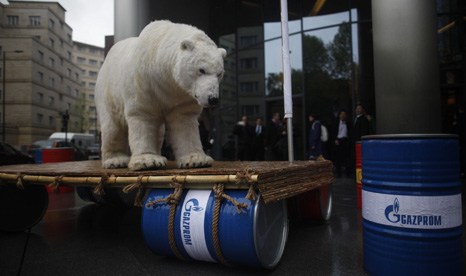 Greenpeace protestors also blockaded Gazprom's London offices today with a giant polar bear (Pic: Greenpeace)