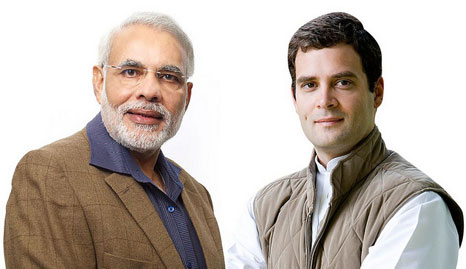 Narendra Modi and his competition Rahul Gandhi (Pic: Global Panorama/Flickr)