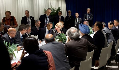President Obama meets with the leaders of China, Brazil, India and South Africa at the 2009 UN talks (Pic: White House/Flickr)