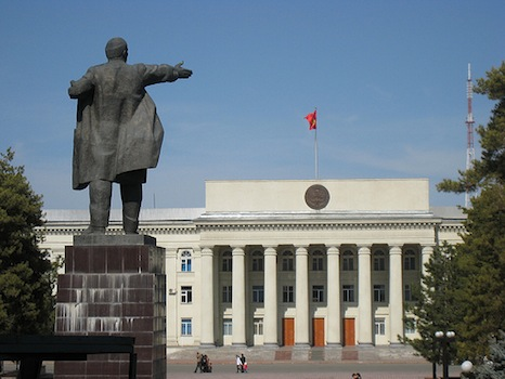 A statue of Lenin still watches over the capital, Bishkek, albeit in a smaller square than before the collapse of the USSR (Pic: Travir/Flickr)