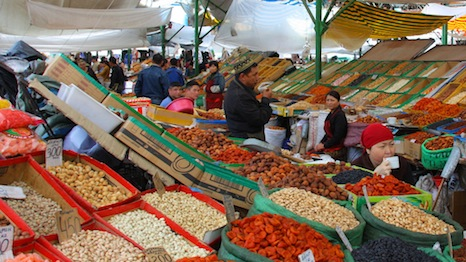 Fruit and nuts are sold at a bazaar in Bishkek, the capital city of Kyrgyzstan (Pic: neiljs/Flickr)