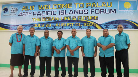 Leaders from the seven Smaller Island States of Tuvalu, RMI, Kiribati, Palau, Cook Islands, Nauru and Niue to discuss oceans at Pacific Island Forum (Pic: Pacific Islands Forum Secretariat)