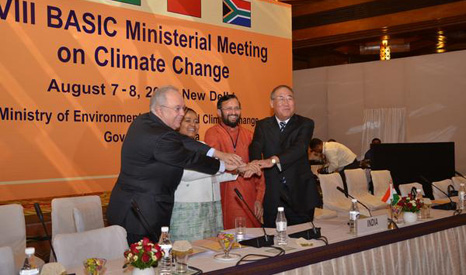 Environment ministers from Brazil, India, South Africa and China meet in New Delhi (Pic: Twitter/PrakashJavadekar)