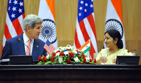 John Kerry and Indian Minister of External Affairs Swaraj address the media post talks (Pic: State Department)