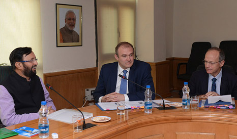 UK climate chief Ed Davey and EU lead negotiator Pete Betts met India's Prakash Javadekar in July (Pic: UK in India/Flickr)