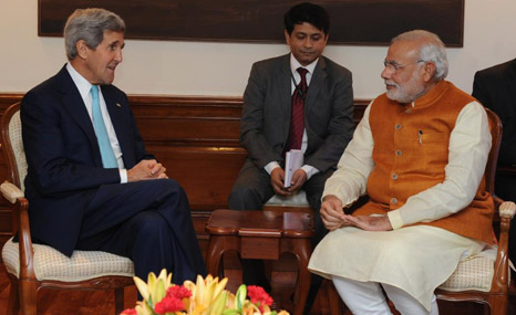 US secretary of state John Kerry reportedly pushed Modi on climate change when they recently met (Pic: Narendra Modi/Twitter)