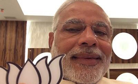 Modi is keen to portray himself as a forward-thinking PM, here taking a 'selfie' during the election (Pic: Narendra Modi/Twitter)