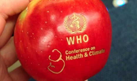 An apple a day keeps delegates at the WHO conference happy (Pic: twitter/HCWH Europe)
