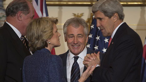 Secretary of Defense Chuck Hagel, Secretary of State John Kerry, Australian Foreign Minister Julie Bishop and Defense Minister David Johnston at last year's AUSMIN talks (Pic: Chuck Hagel/Flickr)