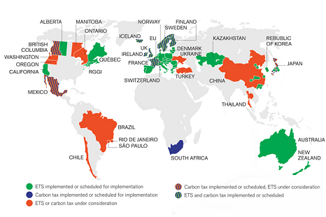 Map of carbon pricing schemes that are running or in development (Source: World Bank)