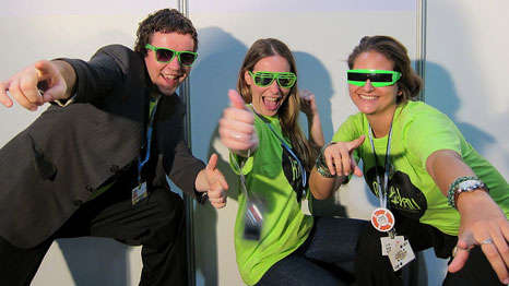 Young activists pose in green glasses during COP17 negotiations in Durban, 2011 (Pic: Sarah Marchildon/Flickr)
