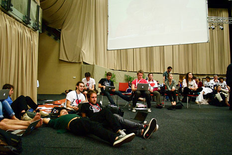 Young people camp out at the final plenary of COP17 (Pic: UKYCC)